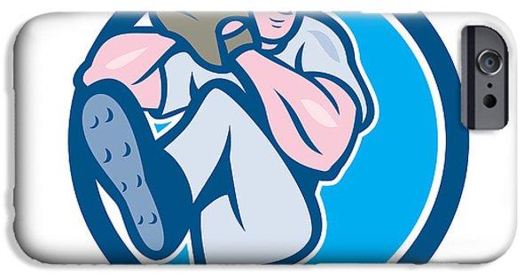 Baseball Glove iPhone Cases - Baseball Pitcher Outfielder Leg Up Circle Cartoon iPhone Case by Aloysius Patrimonio