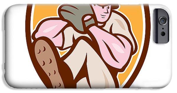 Baseball Glove iPhone Cases - Baseball Pitcher Outfielder Leg Up Shield Cartoon iPhone Case by Aloysius Patrimonio