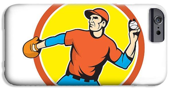Baseball Glove iPhone Cases - Baseball Pitcher Outfielder Throwing Ball Cartoon iPhone Case by Aloysius Patrimonio