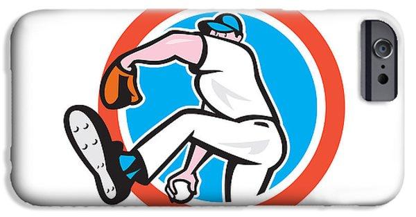 Baseball Glove iPhone Cases - Baseball Pitcher Throwing Ball Circle Cartoon iPhone Case by Aloysius Patrimonio