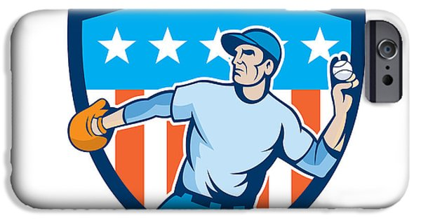 Baseball Glove iPhone Cases - Baseball Pitcher Throwing Ball Shield Cartoon iPhone Case by Aloysius Patrimonio
