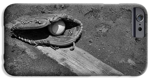 Pitchers Glove iPhone Cases - Baseball Pitchers Mound in black and white iPhone Case by Paul Ward