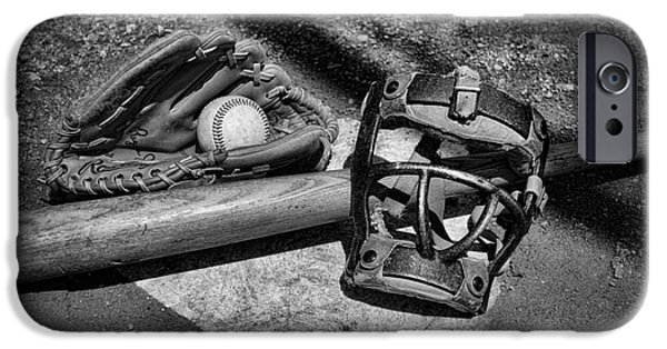 Pitchers Glove iPhone Cases - Baseball Play Ball in black and white iPhone Case by Paul Ward