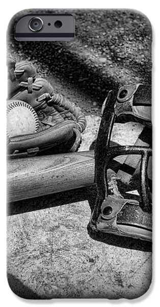 Baseball Play Ball in black and white iPhone Case by Paul Ward
