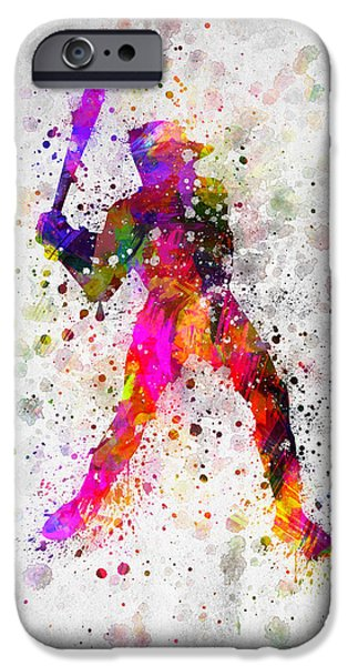 Baseball Pitcher iPhone Cases - Baseball Player - Holding Baseball Bat iPhone Case by Aged Pixel