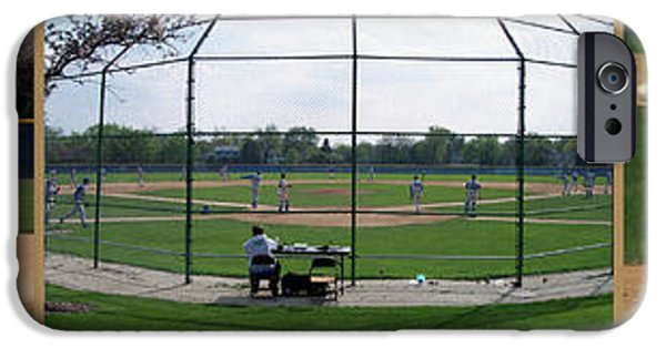 Baseball Glove iPhone Cases - Baseball Playing Hard 3 Panel Composite 01 iPhone Case by Thomas Woolworth