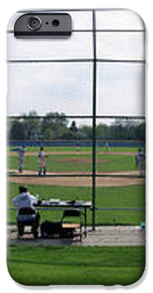 Baseball Playing Hard 3 Panel Composite 01 iPhone Case by Thomas Woolworth