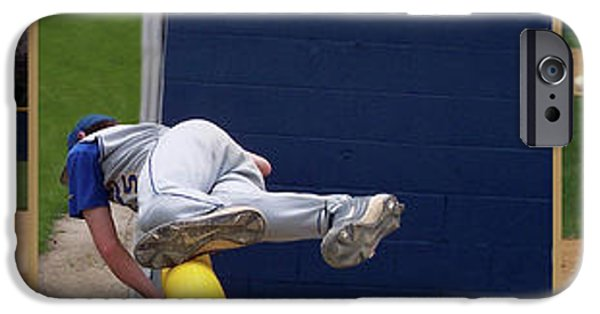Baseball Glove iPhone Cases - Baseball Playing Hard 3 Panel Composite 02 iPhone Case by Thomas Woolworth