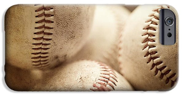 Baseball iPhone Cases - Baseball Sports Art Pile of Well Worn Baseballs  iPhone Case by Lisa Russo
