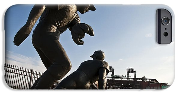 Citizens Bank Park iPhone Cases - Baseball Statue at Citizens Bank Park iPhone Case by Bill Cannon