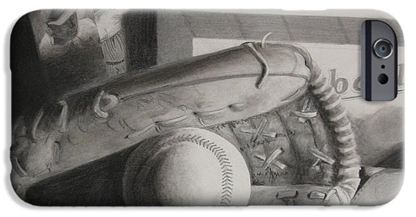 Baseball Glove Drawings iPhone Cases - Baseball Still Life iPhone Case by Melissa Unruh