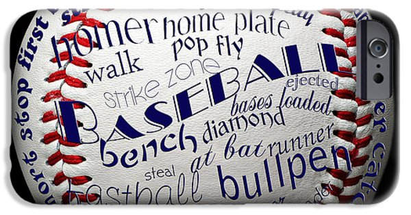 First Term iPhone Cases - Baseball Terms Typography 1 iPhone Case by Andee Design