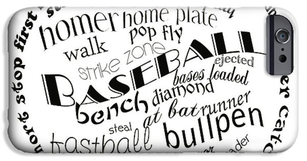 First Term iPhone Cases - Baseball Terms Typography Black And White iPhone Case by Andee Design
