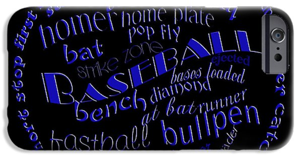 First Term iPhone Cases - Baseball Terms Typography Blue On Black iPhone Case by Andee Design