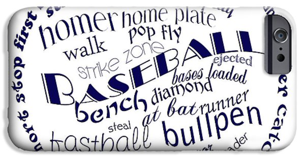 First Term iPhone Cases - Baseball Terms Typography Blue On White iPhone Case by Andee Design