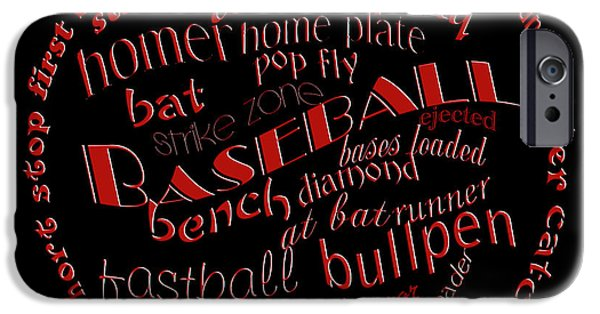 First Term iPhone Cases - Baseball Terms Typography Red On Black iPhone Case by Andee Design
