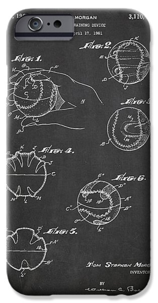 Baseball Gloves iPhone Cases - Baseball Training Device Patent Drawing From 1961 iPhone Case by Aged Pixel