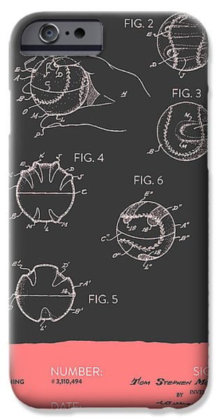 Baseball iPhone Cases - Baseball Training Device Patent From 1963 - Gray Salmon iPhone Case by Aged Pixel