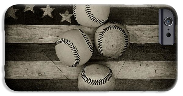 American Pride iPhone Cases - Baseball USA in Black and White iPhone Case by Paul Ward