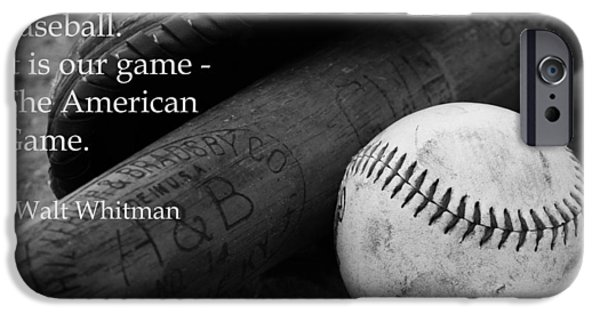 Ball And Glove iPhone Cases - Baseball Walt Whitman iPhone Case by Kelly Hazel