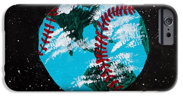 Red Sox Paintings iPhone Cases - Baseball World iPhone Case by Lloyd Alexander