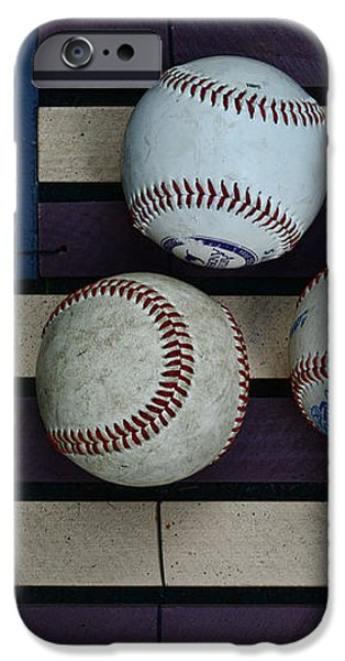 Baseballs on American Flag Folkart iPhone Case by Paul Ward