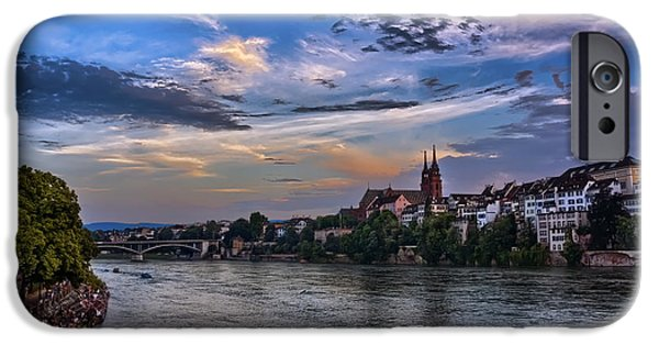 Town iPhone Cases - Basel Bathed in Moonlight iPhone Case by Carol Japp