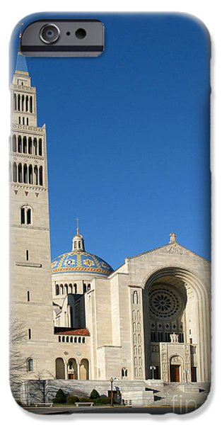 District Columbia Photographs iPhone Cases - Basilica in Washington DC iPhone Case by Olivier Le Queinec