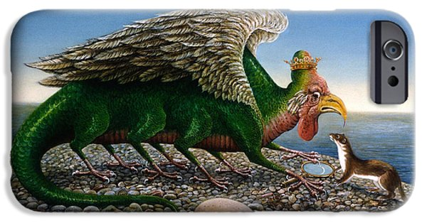 Mythical Creatures iPhone Cases - Basilisk, 1986 Oils And Tempera On Paper iPhone Case by Frances Broomfield
