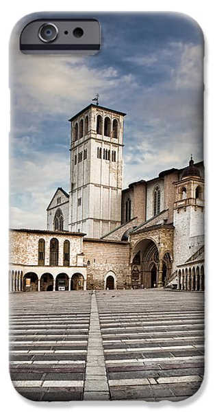 Tuscan Hills iPhone Cases - Basillica of St Francis of Assisi in Italy iPhone Case by Susan  Schmitz
