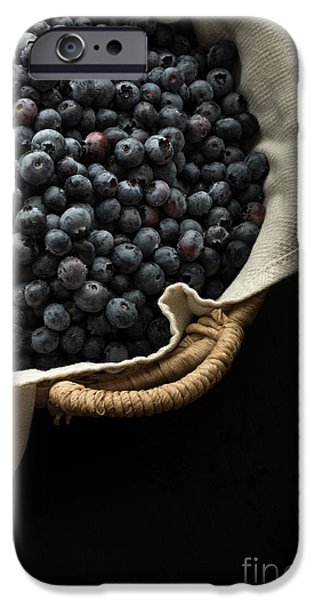 Crops iPhone Cases - Basket full fresh picked blueberries iPhone Case by Edward Fielding