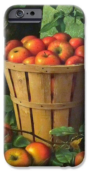 Concept Paintings iPhone Cases - Basket of Apples iPhone Case by Prentice