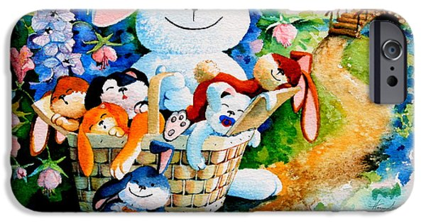 Childrens Books iPhone Cases - Basket of Bunnies iPhone Case by Hanne Lore Koehler