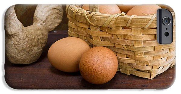 Farm iPhone Cases - Basket of Farm Fresh Eggs iPhone Case by Edward Fielding