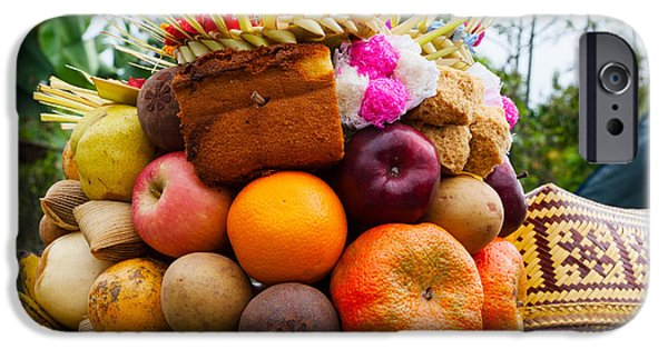 Basket iPhone Cases - Basket Of Fruits And Bakery Items iPhone Case by Panoramic Images