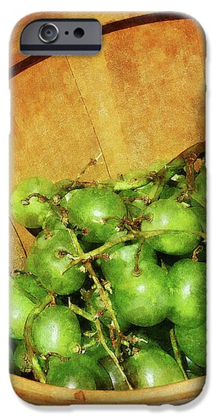 Basket of Green Grapes iPhone Case by Susan Savad