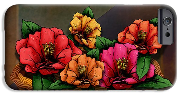 Basket Mixed Media iPhone Cases - Basket Of Hibiscus Flowers iPhone Case by Bedros Awak