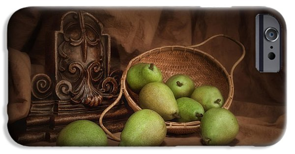 Pears iPhone Cases - Basket of Pears Still Life iPhone Case by Tom Mc Nemar