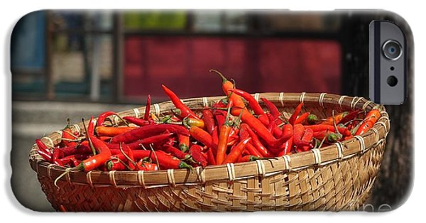 Red Hot Chili Peppers iPhone Cases - Basket with Red Chili Peppers iPhone Case by Yali Shi