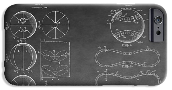 Mlb Drawings iPhone Cases - Basketball And Baseball Patent Drawing iPhone Case by Dan Sproul