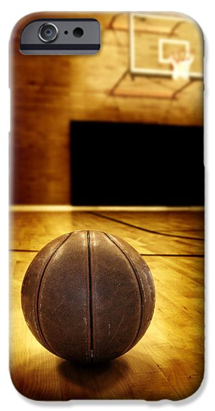 Basket Ball Game iPhone Cases - Basketball Court Competition iPhone Case by Lane Erickson