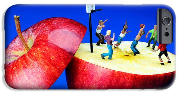 Pop Surrealism Digital iPhone Cases - Basketball games on the apple little people on food iPhone Case by Paul Ge