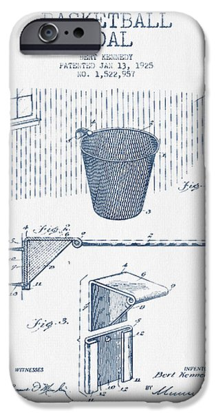 Dunk iPhone Cases - Basketball Goal patent from 1925 - Blue Ink iPhone Case by Aged Pixel