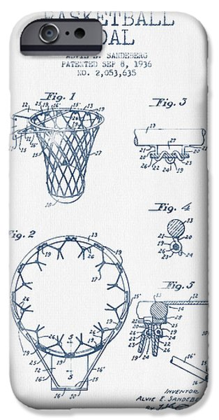 Slam Dunk iPhone Cases - Basketball Goal patent from 1936 - Blue Ink iPhone Case by Aged Pixel