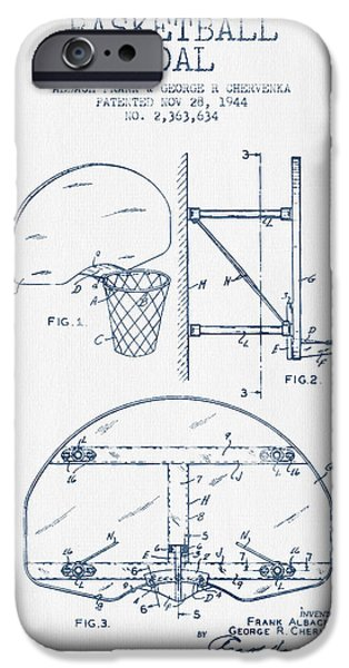 Dunk iPhone Cases - Basketball Goal patent from 1944 - Blue Ink iPhone Case by Aged Pixel