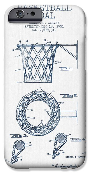 Slam Dunk iPhone Cases - Basketball Goal patent from 1951 - Blue Ink iPhone Case by Aged Pixel