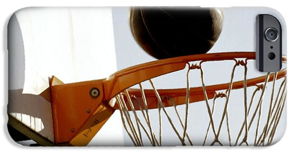 Dunk Paintings iPhone Cases - Basketball hoop and ball iPhone Case by Lanjee Chee
