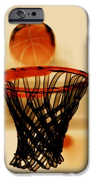 Basket Ball Paintings iPhone Cases - Basketball hoop and basketball ball 1 iPhone Case by Lanjee Chee