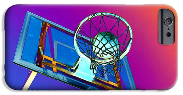 Basket Ball Paintings iPhone Cases - Basketball hoop and basketball ball iPhone Case by Lanjee Chee