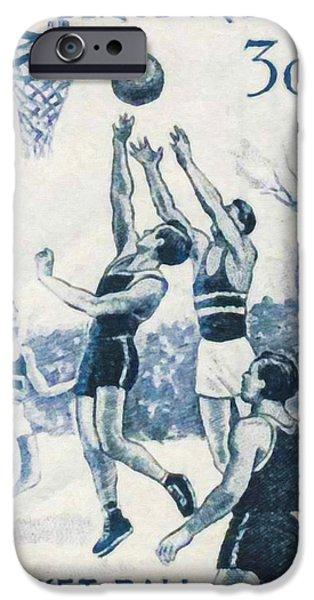 Basket Ball Paintings iPhone Cases - Basketball iPhone Case by Lanjee Chee